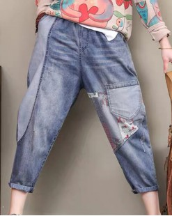 新品Hot sale 任選2件即時85折優惠碼:CS215 (HK$162) - 紅條橡筋牛仔褲 - 69049