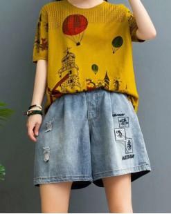 新品Hot sale 任選2件即時85折優惠碼:CS215 (HK$136) - 米奇牛仔橡筋短褲 - 69052