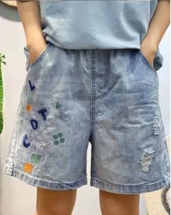 新品Hot sale 任選2件即時85折優惠碼:CS215 (HK$136) - 字母牛仔橡筋短褲 - 69054
