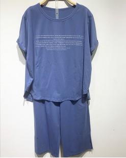 英文短袖家居服(套裝) - 78345