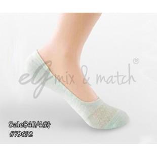 79692-4:純綿提花船襪$40/4對(黑2對,粉1對,粉綠1對)