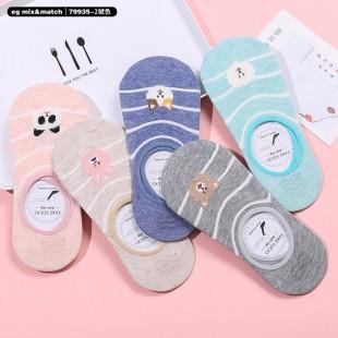 全棉襪子(1套5對) - 79935 - 2號色