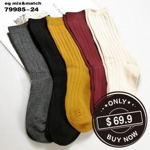 全棉襪子 (1组5對) -79985-24號色