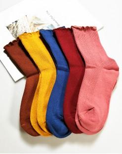 全棉襪子 (1组5對) - 79985-5號色