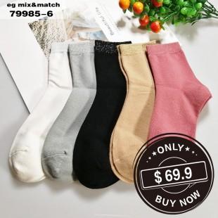 全棉襪子 (1组5對) - 79985-6號色