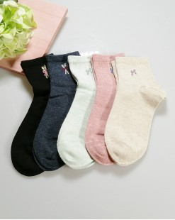 全棉襪子 (1组5對) - 79985-1號色