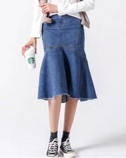 韓國直送J.BLANC簡約魚尾波浪裙襬牛仔裙 - 83823#全店新品4件起75折優惠碼:-25OFF (HK$158) #