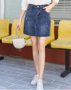 BLUE VERY簡約百搭英文字印花牛仔短裙 - 83842 #全店新品4件起75折優惠碼:-25OFF (HK$135) 韓國直送 #
