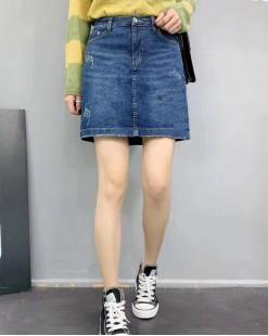 韓國直送BLUE VERY個性刷破簡約牛仔裙- 83844  #全店新品4件起75折優惠碼:-25OFF (HK$135) #