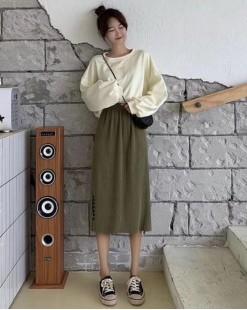 淨色針織百褶半截裙-83846#全店新品4件起75折優惠碼 : -25OFF (HK$90) #