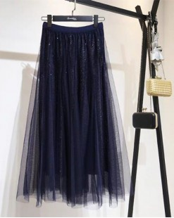 橡筋腰網紗半截裙 - 83853 #全店新品4件起75折優惠碼 : -25OFF (HK$120) #