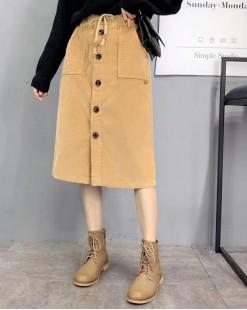 舒適鈕扣前開衩雙袋綁帶半截裙 - 83866 #全店新品4件起75折:HK$150#