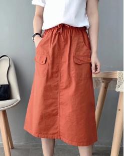 Final Sale 最後勁減,半截裙單件6折 -  兩假袋全橡筋半截裙 - 83898
