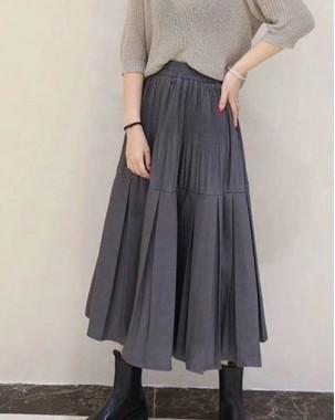 秋冬優惠,輸入VIP即有85折,折實$119 - 淨色A型橡筋半截裙 - 83922