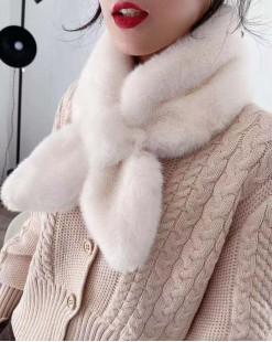 毛毛兔子耳朵造型圍巾-95733